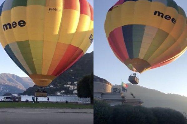 Régis décolle une montgolfière (lac de Côme)