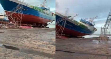 Un bateau tombe sur un chantier (Espagne)